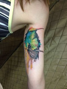 My watercolor bird tattoo, done by Ty @ Imperial Tattoo, Wausau, WI
