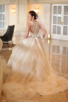 love the back!! wedding dress - I love the trailing chiffon! princess http://www.pinterest.com/JessicaMpins/