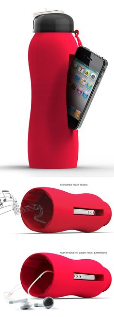 Red Bazooka Drink Bottle // cleverly holds your iPhone, a drink, and amplifies your tunes all in one! Perfect for working out. #product_design