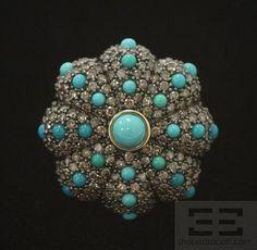 Carlo Viani 14K Yellow Gold Brown Diamond & Turquoise Ring