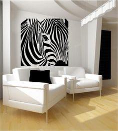 Zebra Wall Art Decals Stickers Vinyl Wallpaper Image Decoration Wall Art, Modern Art, Zebra Wall, Zebra Girl, Closet Art