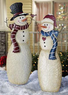 Snowmen Outdoor Garden Stakes!