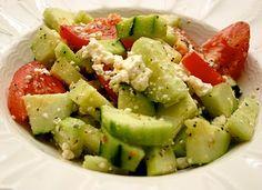 mediterranean salad:  cucumbers, tomatoes  feta cheese tossed with olive oil, lemon juice  seasonings.