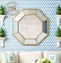 WINTER 2013: Something to reflect upon at #lvmkt - Diane Watts' (C-0101) Deco Octagon #mirror is framed by a chamfered border and shown in antiqued silver. Two sizes: 42 inches and 48 inches.