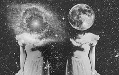 Surreal photography • Galaxy and the Moon