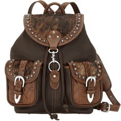 Backpacker Drawstring Backpack - Brown with Caramel and Cowhide