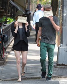 Emma Stone, Andrew Garfield, Black Blazer, NYC, black shorts