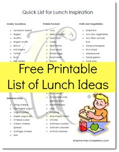 Quick list of easy healthy lunch ideas for kids