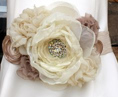 Statement Bridal Belt Wedding Sash Creams and by MakeBelieveN. $185.00, via Etsy.