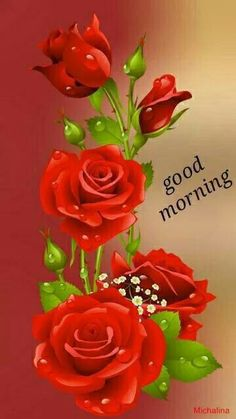 Good morning friend with roses