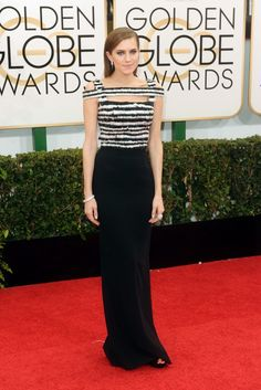 Allison Williams in beautiful black and white Alexander McQueen.