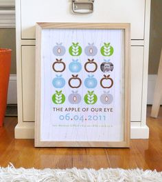 Mod Apple Print modern nursery wall art with photo poster custom - 12x16