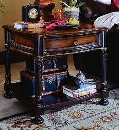 One drawer.    Hardwood Solids with Cherry Veneers.