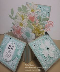 Card in a Box Flower Shop stamp set, Pansy punch, Occasions Alphabet Stamp set, Sweet Sorbet DSP (2014 Sale-A-Bration), Circ;e Framelits