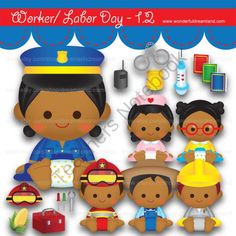 Instant Download Printable Clipart Clip Art Digital PNG File Labor Worker Day My Baby Boy Girl 1.2 from Wonderful Dreamland on TeachersNotebook.com -  (19 pages)  - baby boy, baby girl, teacher, nurse, police woman, fireman, technician, farmer, sun kissed skin, tanned skin, African American