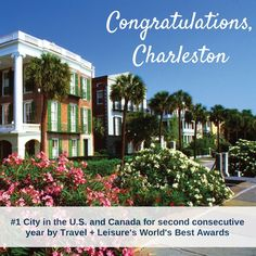 """Hot off the press, Charleston is awarded best in travel recognition, named the """"Top City in the U.S. and Canada"""" by Travel + Leisure magazine for the second consecutive year, and second city in the world rankings. Read all about it: http://www.wilddunes.com/blog/two-for-two-charleston-ranked-1-destination-in-the-usa-and-canada-by-travel-leisures-worlds-best-awards-for-second-consecutive-year?&m=0"""