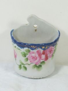Vintage WALL POCKET Pink Roses tiny Vase by LavenderGardenCottag