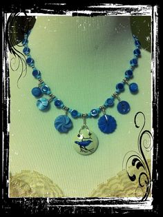 Necklace and Earring Set of Vintage Ceramic by LilyHillVintage, $39.00