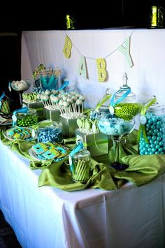 I know this is meant for a baby shower, but since it's in my wedding colors...instant inspiration for our candy bar!