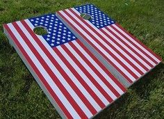 Cornhole Bag Toss - American Flag Cornhole Boards