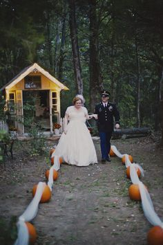 DIY, Glittery, Pumpkin Filled Fall Wedding In The Woods | Bridal Musings