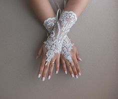 Wedding Gloves ivory french  lace glovesFingerless by geranum, $35.00