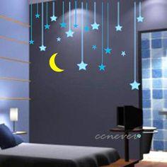 30pcs stars moon kids nursery----Art Graphic Vinyl wall decals stickers home decor on Etsy, $29.95