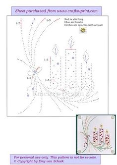 ED072 X mas candles on Craftsuprint designed by Emy van Schaik - Stitching with beads and spacers - Now available for download!