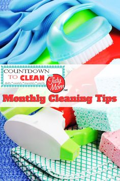 Countdown to Clean.  Monthly Cleaning Tips at TidyMom.net  Using this method, you'll get your house clean without back-breaking effort.  Remember, the more often you clean, the less build up you will have.