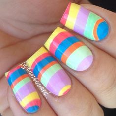 Almost like Dr. Seuss! Striped pastel nails perfect for spring or Easter.
