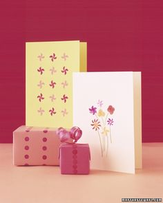 Elegant stamped designs made with pencil erasers - small details make a big impact! Via Martha Stewart.