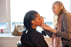 make up artist lisa houghton creates the first look on model jasmine tookes  all about a strong brow and subtle contouring with highlighter.