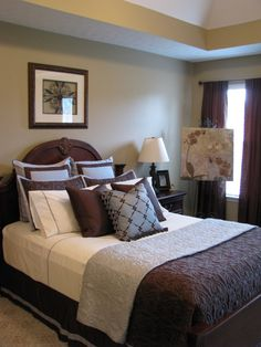 HGTV - I do love brown and blue together. Suggestion from another website: If you are a fan of blue-gray and chocolate, consider putting taupe on your walls. wall colors, color schemes, guest bedroom, bedroom colors, blue bedrooms, master bedrooms, guest rooms, blues, bedroom designs