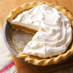 True Butterscotch Pie: a prizewinning recipe from the Iowa State Fair. A flaky crust and whipped cream sandwich the butterscotch filling. Recipe: http://www.midwestliving.com/recipe/true-butterscotch-pie/