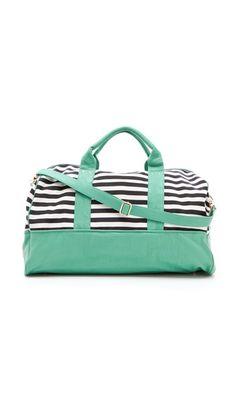 Striped weekend bag