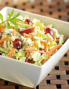 Red grapes and bleu cheese-Dijon dressing highlight our Old-Fashioned Cole Slaw. salad, blue cheese, bleu chees, side, chees coleslaw, food, cole slaw recipes, pulled pork, green onions