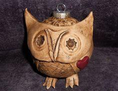 Woodland Owl Ornament,  Handmade Christmas Ornament, Whimsical Owl Xmas Tree Decoration, Custom Size, Home Decor Animal Sculpture & Pendant http://www.etsy.com/shop/TheBohemianRomantic