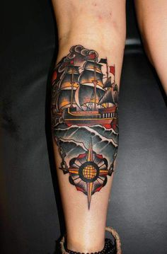 old school tattoo ship, tattoo tattoo, color, tattoos, ship tattoo compass, tattoodesign bodyart, ships, herb auerbach, tattoo ink