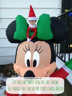 Elf on the Shelf Fun in the Snow: Elf Hangs out with the Christmas Decor #elfonthesehlf #elfshelf #christmas