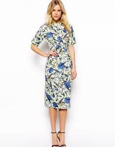 ASOS Midi Wiggle Dress In Floral Print
