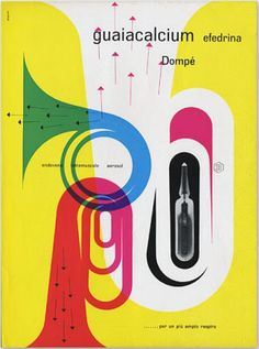 Franco Grignani, 1959. Ad for Dompé pharmaceuticals. Love the color interaction here. And the arrows are so tasteful!
