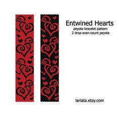 Entwined Hearts  2 Drop Peyote Bracelet Pattern  by lariata, $5.99