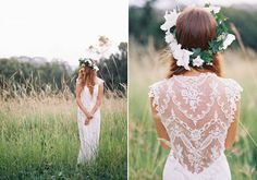 lace back boho bohemian weding dress gown Romantic Wedding Inspiration from Feather & Stone Photography