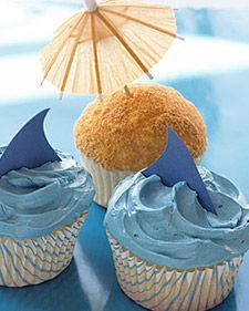 Shark and Beach Cupcakes - Martha Stewart Cupcakes summer cupcakes, vanilla cupcakes, birthday parties, cupcake recipes, themed cupcakes, party cupcakes, beach theme, summer parti, pool parti