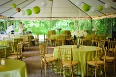 The Duncan Estate in Spartanburg, SC // elegant green and gold wedding reception with chivari chairs, chinese lanterns, and beautiful hydrangea and twig centerpieces