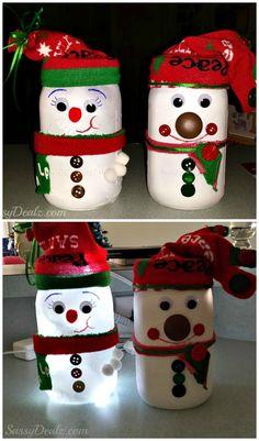 DIY Snowman Mason Jar Craft For Kids (Light Decoration) #Christmas art project #Winter craft #Christmas craft for kids| CraftyMorning.com