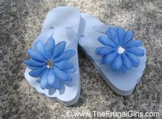 How to Make Flower Flip Flops at TheFrugalGirls.com #craft