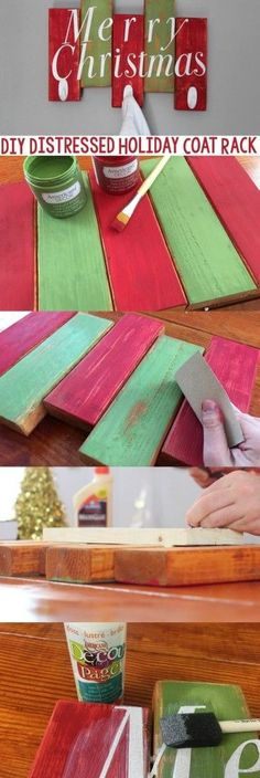 Today we're sharing how to create a inexpensive DIY Distressed  Holiday Coat Rack. I love when a DIY is not only decor, but a useable DIY too! #christmas #diychristmas #holidays #diyholidayideas  #diychristmasideas #diychristmasdecor #diychristmasgiftideas #christmascrafts #christmaskidcrafts  #diygiftideas #christmasdiy #christmascrafts #diychristmasideas #ornaments