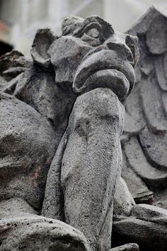 gargoyle looking pensive / #beautiful #stone #statue #gargoyle