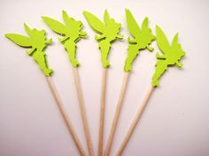 24 Green Tinkerbell Party Picks - Cupcake Toppers